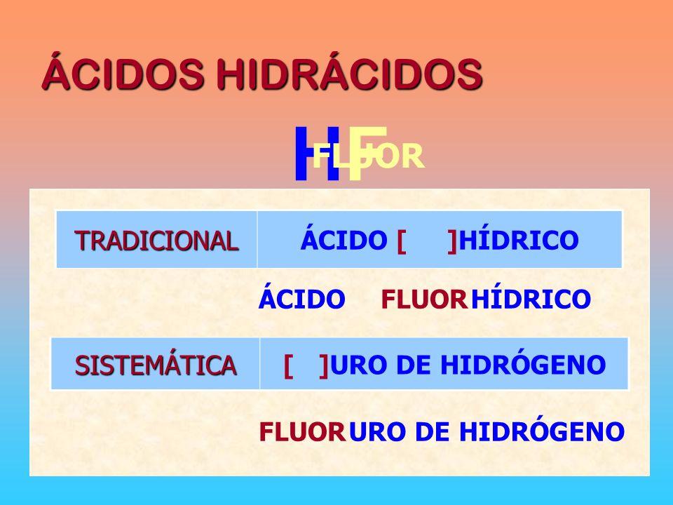 HF ÁCIDOS HIDRÁCIDOS FLUOR TRADICIONAL ÁCIDO [ ]HÍDRICO ÁCIDO FLUOR